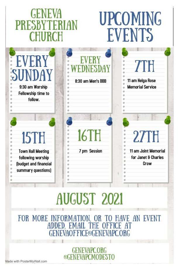 Geneva Presbyterian August Events