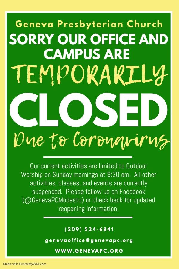 Geneva Presbyterian Church Office and Campus Closed