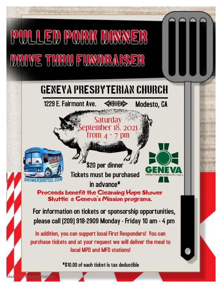 Pulled Pork Dinner at Geneva Presbyterian Church in Modesto, CA
